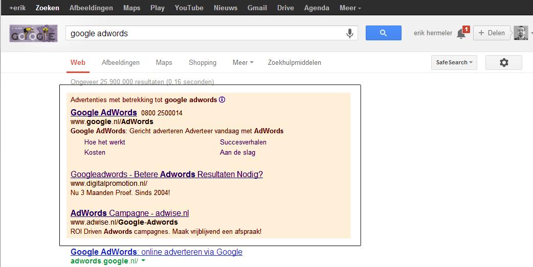 advertenties in Adwords inrichten