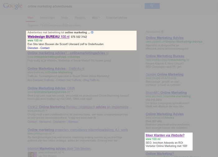 Aantal tekens Adwords advertentie?