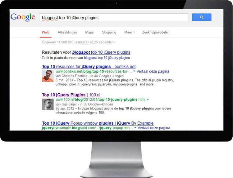 Google Author invloed bij zoekresultaten
