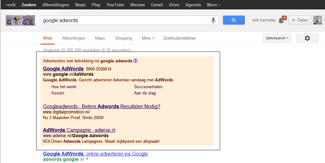 advertenties in Adwords inrichten