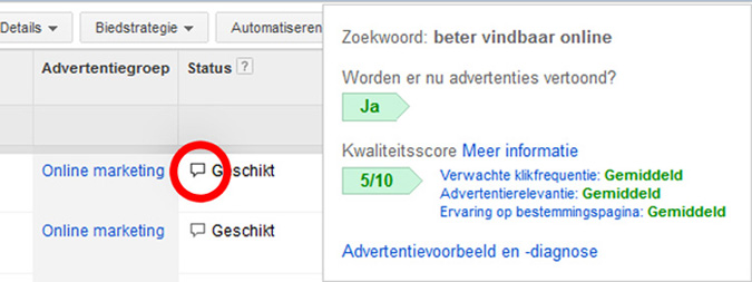 Adwords advertentiekwaliteit controleren