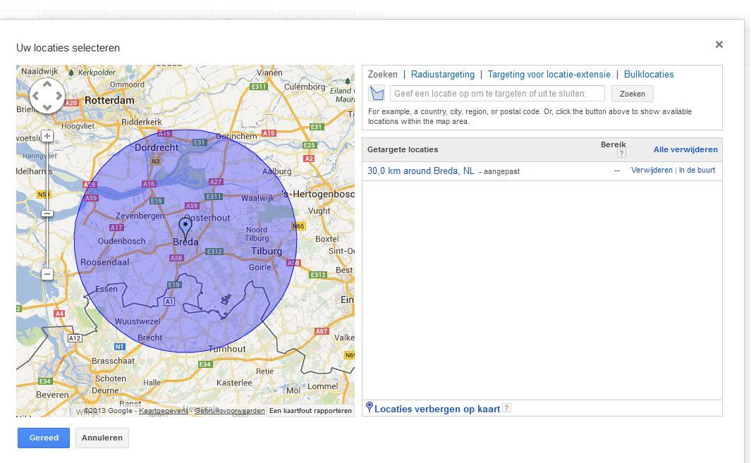 Advertentie targeten op regio voorbeeld radius