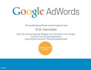 Google Adwords certificaat | erik hermeler